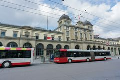 Winterthur, ZH / Switzerland - April 8, 2019:  Winterthur train station with city buses waiting at the bus stop
