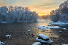 The wintertide river sunrise Royalty Free Stock Photo