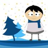 Wintertijd met weinig jongensbeeldverhaal Stock Foto