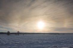 Wintertijdzonsondergang over weide stock afbeelding