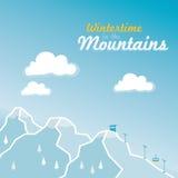 Wintertime в высокогорных горах Стоковое Изображение