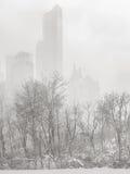 Wintertime в NYC - пурга затмевает небоскребы Манхаттана Стоковые Фотографии RF