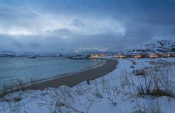 Wintertime Норвегия побережья курортного поселка Skipholmen атлантический стоковое фото rf
