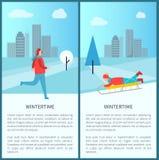 Wintertime Activities Banner Vector Illustration. Wintertime activities banner with jogging and sledding men in city park. Vector illustration with active people Royalty Free Stock Image