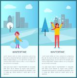 Wintertime Activities in City Vector Illustration. Wintertime activities in city set of two posters with kid making snowman and adult woman playing with snow Stock Images