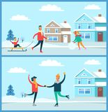 Wintertime Activities Nature Vector Illustration. Wintertime activities on nature of people, skating couple, kid sitting on sled and woman with ball of snow Royalty Free Stock Image