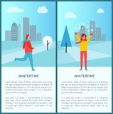 Wintertime Activities in Park Vector Illustration. Wintertime activities in park poster with running man and happy smiling woman playing with snow. Vector Stock Photo