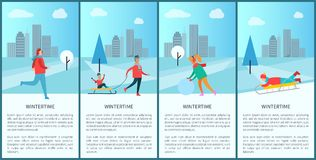 Wintertime People Activities Vector Illustration. Wintertime activities of people, given text sample and cityscape, child on sled, woman with snowball, running Stock Photography