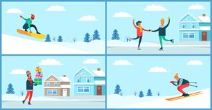 Wintertime Activities Placards Set Vector Illustration. Wintertime activities placards set, snowboarder and skier, figure-skating young people, man carrying Royalty Free Stock Images