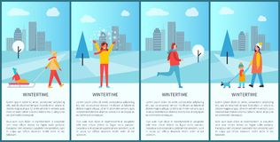 Wintertime Activities Poster Vector Illustration. Wintertime activities poster with people having fun, walking and jogging in city park. Vector illustration with Stock Image