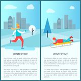 Wintertime Activities Posters Vector Illustration. Wintertime activities posters with people ice-skating and sledding in city park. Vector illustration with Royalty Free Stock Photos