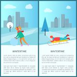 Wintertime Activities, Woman in Earphones Makes Snowman. Child riding downhill on sleigh vector poster on cityscape background with skyscrapers Stock Photo
