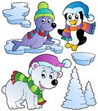 Wintertime animals collection 2. Vector illustration Royalty Free Stock Image