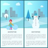 Wintertime Banners Collection Vector Illustration. Wintertime banners collection, text sample and letterings, girl dressed in warm clothes with snowballs Stock Photos