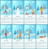 Wintertime Banners Collection Vector Illustration. Wintertime collection of banners, snowman and family, happy woman with snowflakes, mother and kid walking Stock Image