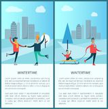Wintertime Skaters and Family Vector Illustration. Wintertime banners, couple of skaters and family, father and kid sitting on sled, buildings and trees, text Stock Photography