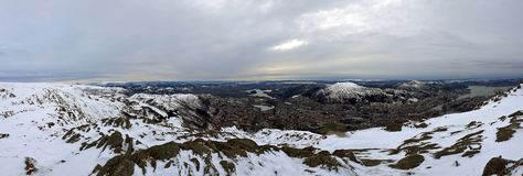 Panorama highlighting Bergen`s beauty during winter. stock photography