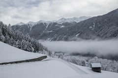 Wintertime in carinthia in austria, Winter in Kärnten - Österreich. The mointain village Stall im Mölltal is an unspoiled destination in the west of Royalty Free Stock Photos