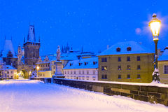 Wintertime Charles bridge, Prague, Czech republic Stock Images