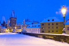 Wintertime Charles bridge, Prague, Czech republic Stock Images