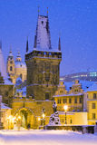 Wintertime Charles bridge, Prague, Czech republic Royalty Free Stock Photos