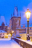 Wintertime Charles bridge, Prague, Czech republic Stock Photos