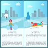 Wintertime Childish Activities Vector Illustration. Wintertime childish activities with kids making snowballs for building snowman and sledding. Vector Stock Image