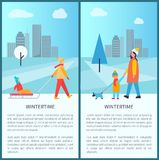 Wintertime City Activities Vector Illustration. Wintertime city activities with families walking with kids on sleds, pet on leash. Vector illustration with Stock Image