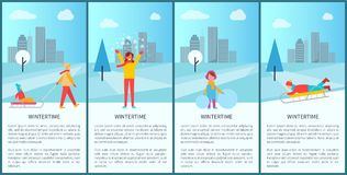 Wintertime City Park Activity Vector Illustration. Wintertime city park activity with people making fun, ice-skating or sledding. Vector illustration with happy Royalty Free Stock Photography