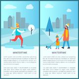 Wintertime City Park Posters Vector Illustration. Wintertime city park posters with ice-skating man and family of mother and kid walking dog. Vector illustration Stock Photos