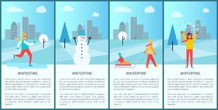 Wintertime City Set of Posters Vector Illustration. Wintertime city set of posters with happy people having fun in snowy park. Vector illustration with kids Royalty Free Stock Photo