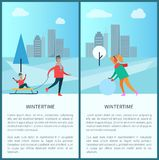 Wintertime and Cityscape Set Vector Illustration. Wintertime and cityscape collection, skyscrapers and trees, snowy weather, father and kid on sled, woman with Royalty Free Stock Images