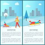 Wintertime Cityscape Poster Vector Illustration. Wintertime cityscape poster with children and adults making fun with sleigh in city park. Vector illustration Royalty Free Stock Image