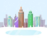 Wintertime Cityscape Poster Vector Illustration. Wintertime cityscape poster with frozen lake in park zone and buildings covered with snow on background. Vector Royalty Free Stock Images
