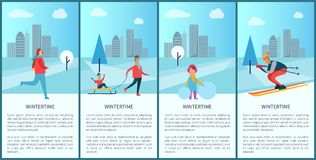 Wintertime Collection and City Vector Illustration. Wintertime collection and city view, buildings and clouds, trees and people skiing and skating, kid sitting Royalty Free Stock Photography