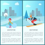 Wintertime Girl and Skier Vector Illustration. Wintertime collection, girl standing with snowball and skier riding down slope, text sample and headlines Royalty Free Stock Image