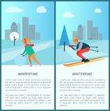 Wintertime Woman and Snowball Vector Illustration. Wintertime collection of placards with titles and text, woman and snowball, skier and cityscape with buildings Stock Image