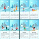 Wintertime Collection and Text Vector Illustration. Wintertime collection with text sample and letterings, people having fun outdoor in winter park, cityscape on Royalty Free Stock Photo