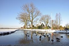 Wintertime in the countryside from the Netherlands Stock Photos