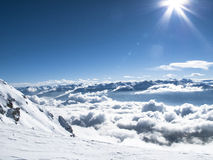 Wintertime early morning sea of clouds – mountain top Austrian Stock Image