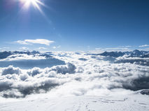 Wintertime early morning sea of clouds – mountain top Austrian Royalty Free Stock Image