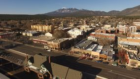 Wintertime Flagstaff Arizona City Center Downtown Aerial Footage