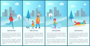 Wintertime Fun Set of Posters Vector Illustration. Wintertime fun set of posters with happy families and sportsmen in snowy city park. Vector illustration with Royalty Free Stock Image