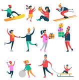 Wintertime Icons Collection Vector Illustration. Wintertime icons collection, people and activities, gift and presents, skiing and skating, sled and kid Royalty Free Stock Photo