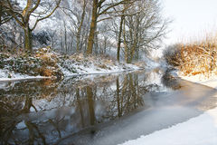 Wintertime icy river. Icy river in holland in january Stock Photo