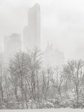 Wintertime in NYC - Snowstorm outshines Manhattan's skyscrapers Royalty Free Stock Photos