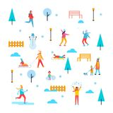 Wintertime Outdoor Activities Vector Illustration. Wintertime outdoor activities, people having fun, skating and playing snowballs, trees and benches, fences and Royalty Free Stock Image