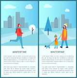 Wintertime Outdoor Activities Vector Illustration. Wintertime outdoor activities posters with jogging man and woman with child walking dog. Vector illustration Royalty Free Stock Image