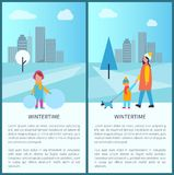 Wintertime Park Activities Vector Illustration. Wintertime park activities, family walking pet and kid making snowman in city park. Vector illustration with Stock Image