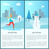 Wintertime in Park Posters Vector Illustration. Wintertime in park posters with warm dressed ice-skating man and big funny snowman. Background of vector Royalty Free Stock Images